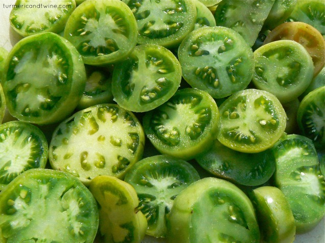 Green tomatoes spread out
