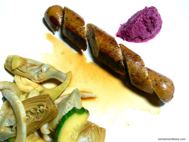 chicken sausage with beet cream and fennel artichoke salad 2