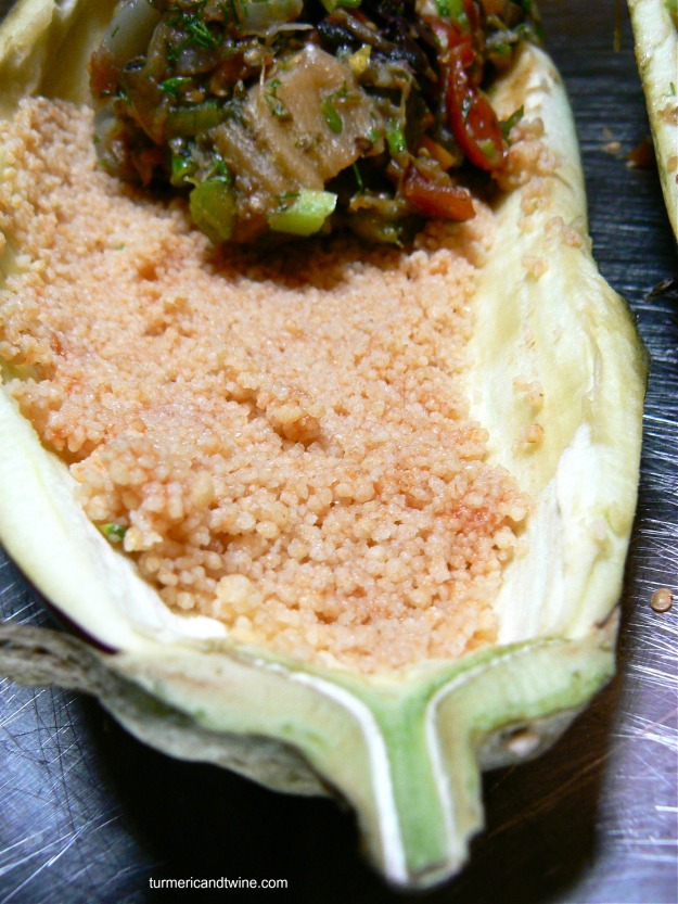 vegetarian stuffed eggplant with couscous 2
