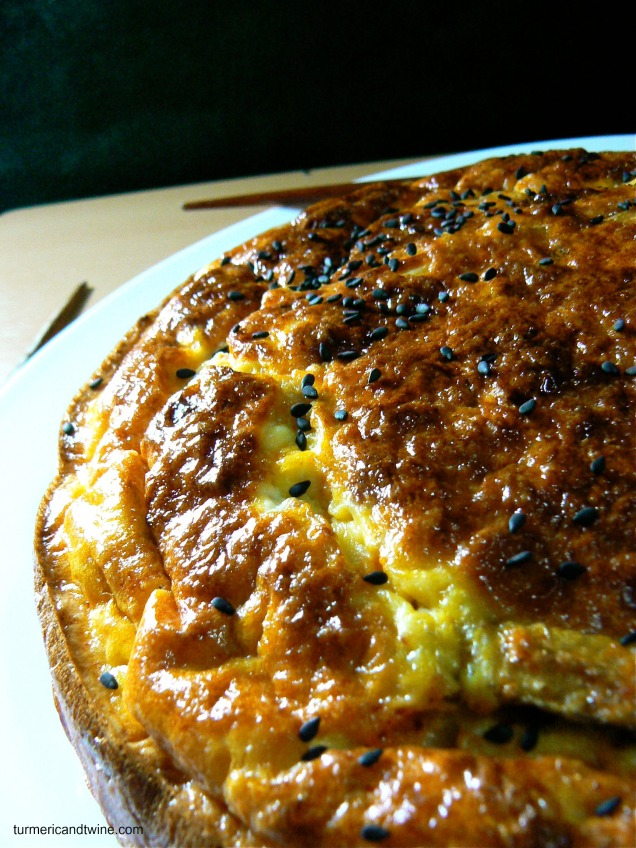 mukeunji kimchi frittata with sour cream and lemongrass