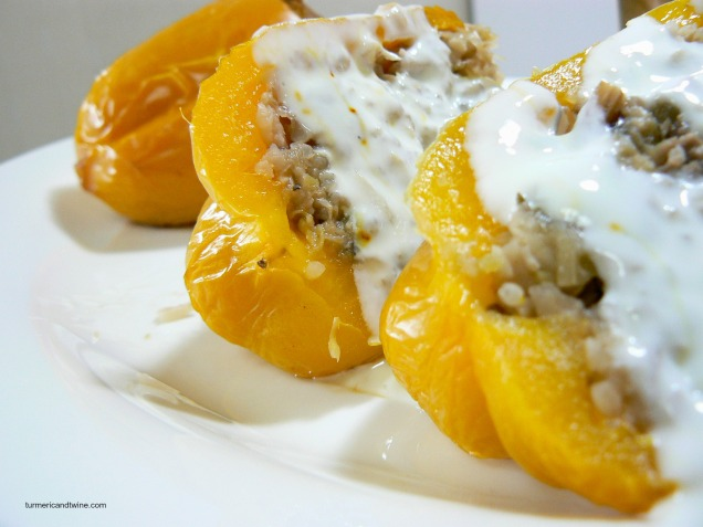 Stuffed Yellow Peppers with Saffron Yogurt Sauce 2