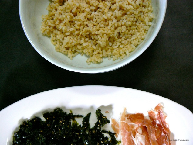 Korean Fist Rice with Fried Seaweed Prosciutto and White Truffle Oil