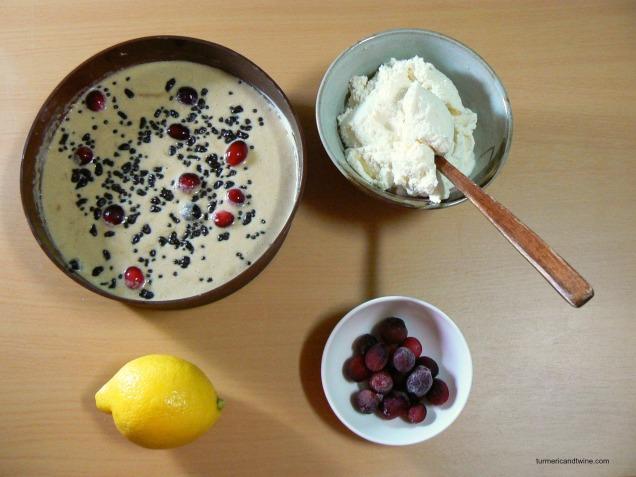 Lemon Ricotta Deep Dish Pancake with Cranberries and Chocolate