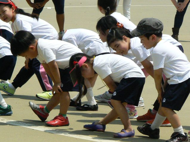 Korean children doing stretches