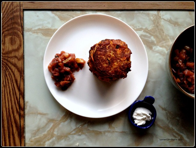 carrot potato latkas with apple chutney Wwoof CSA farm share