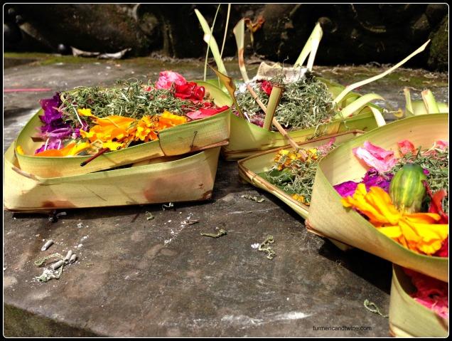 flower offerings in Bali