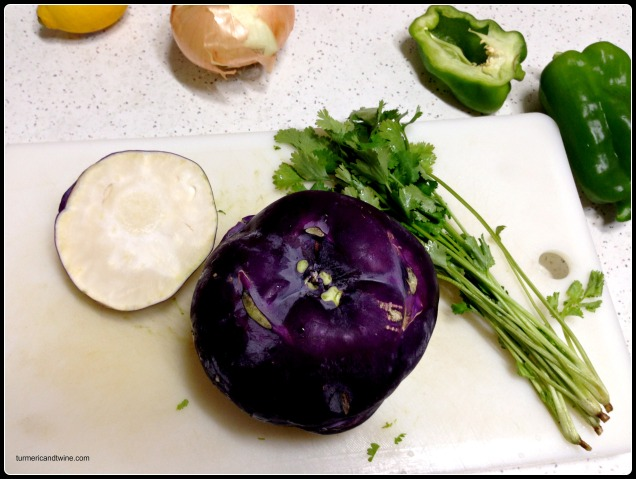Kohlrabi cilantro salsa ingredients