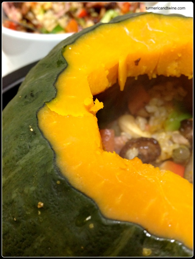 smoked duck stuffed pumpkin