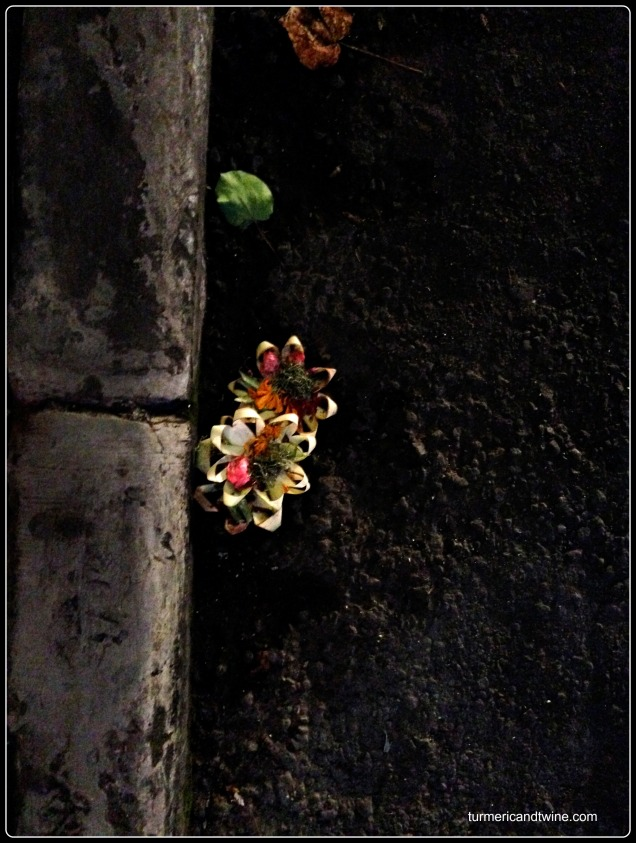 flower offerings in the road-Ubud