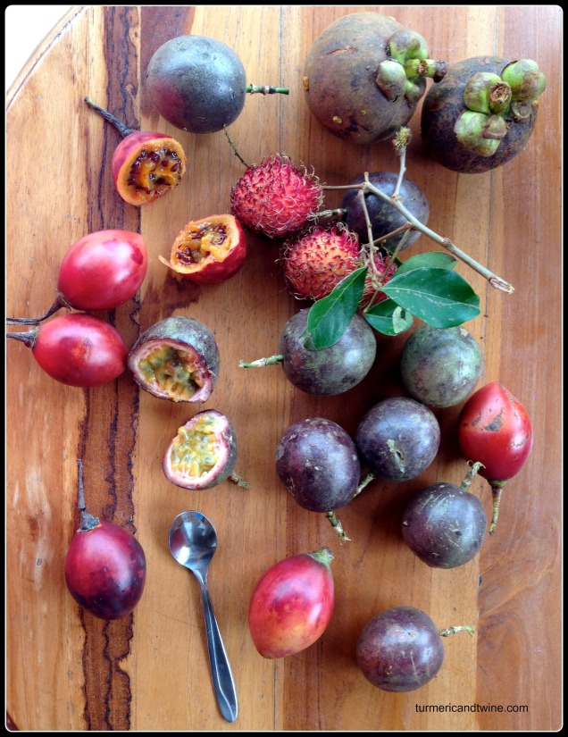 mangosteen, passion fruit, rambutan and mystery red fruit