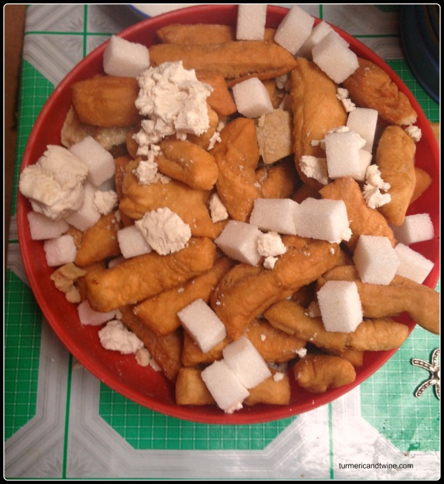 camel cheese, sugar cubes and fried bread from ger host in Mongolia