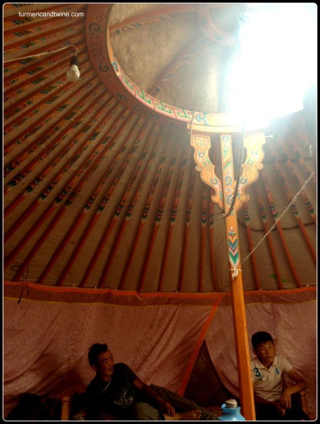 inside a ger Gobi Desert Mongolia