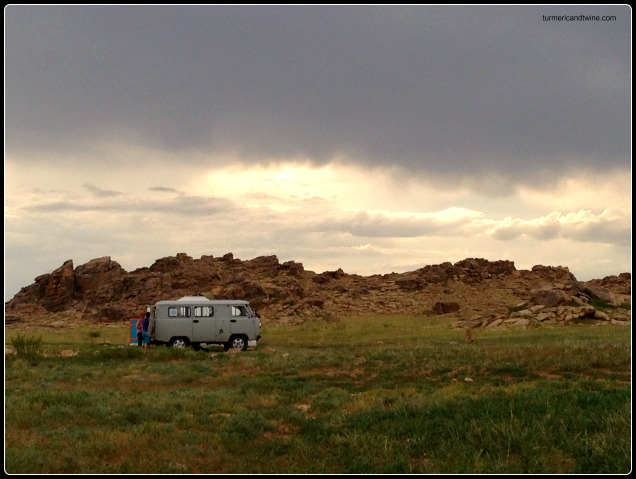 Russian van in Mongolian steppe