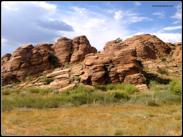 slanted rock formations, Mongolia