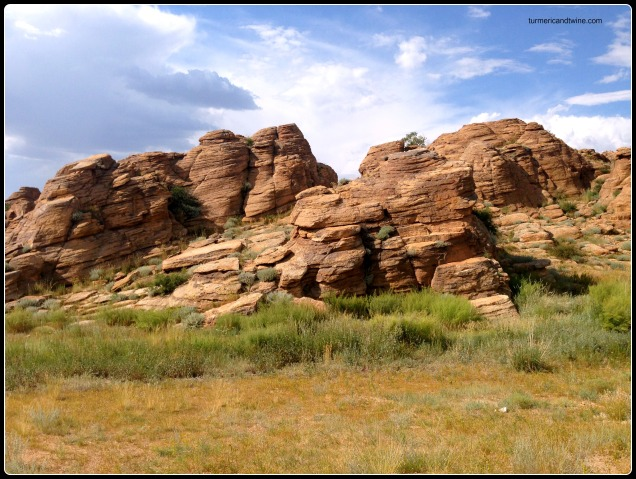 slanted rock formations, Mongolia