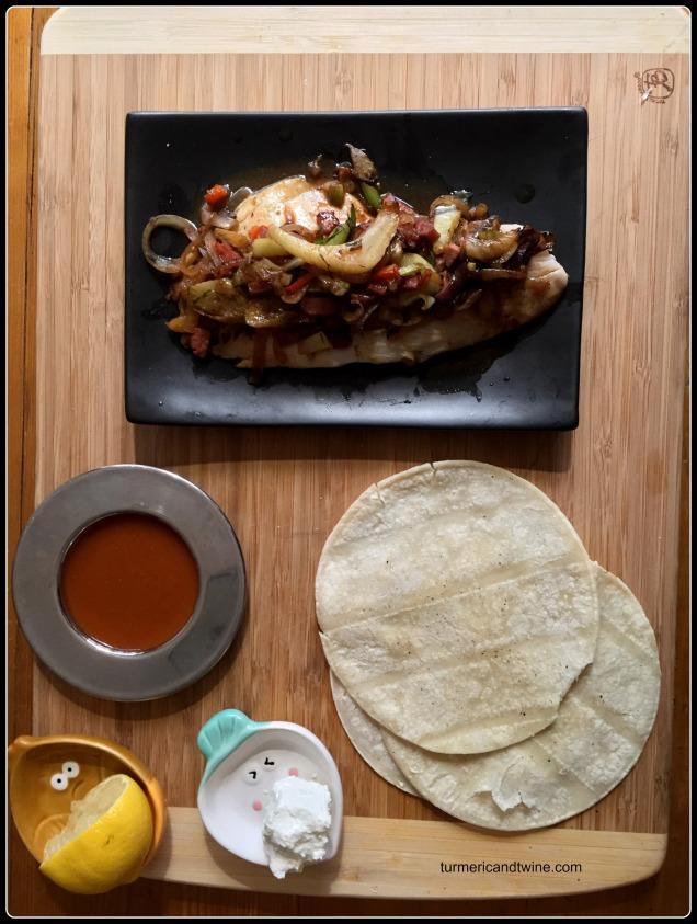 Pomegranate molasses marinated tilapia tacos with fennel kielbasa salsa