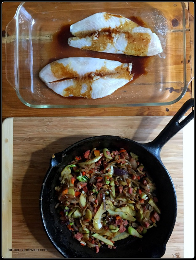 pomegranate molasses tilapia with fennel kielbasa salsa