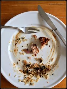 IMG_3015 Tamari Butter Dijon Albacore Tuna Steak abed Saffron Seaweed Rice and Golden Onions done