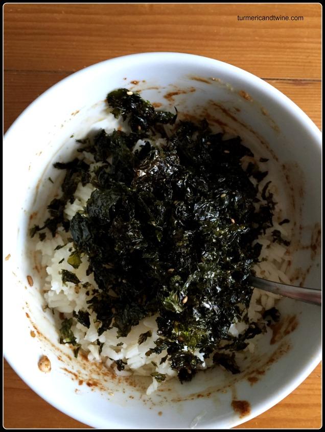 Saffron Seaweed rice prep