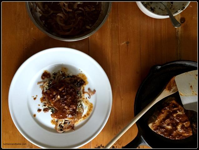 Tamari Butter Dijon Albacore Tuna Steak abed Saffron Seaweed Rice and Golden Onions plate