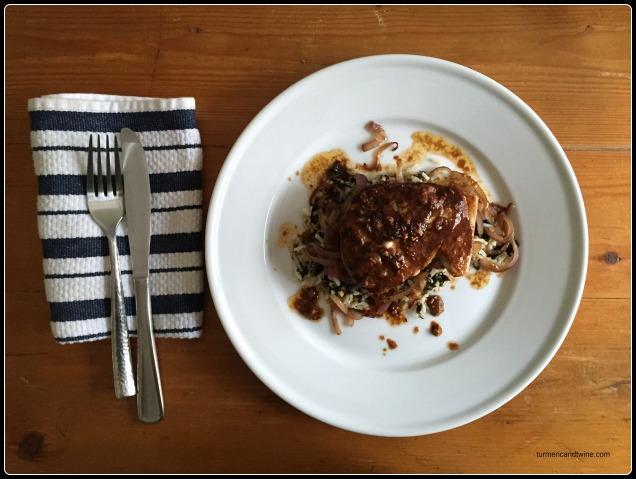 Tamari Butter Dijon Albacore Tuna Steak abed Saffron Seaweed Rice and Golden Onions ready