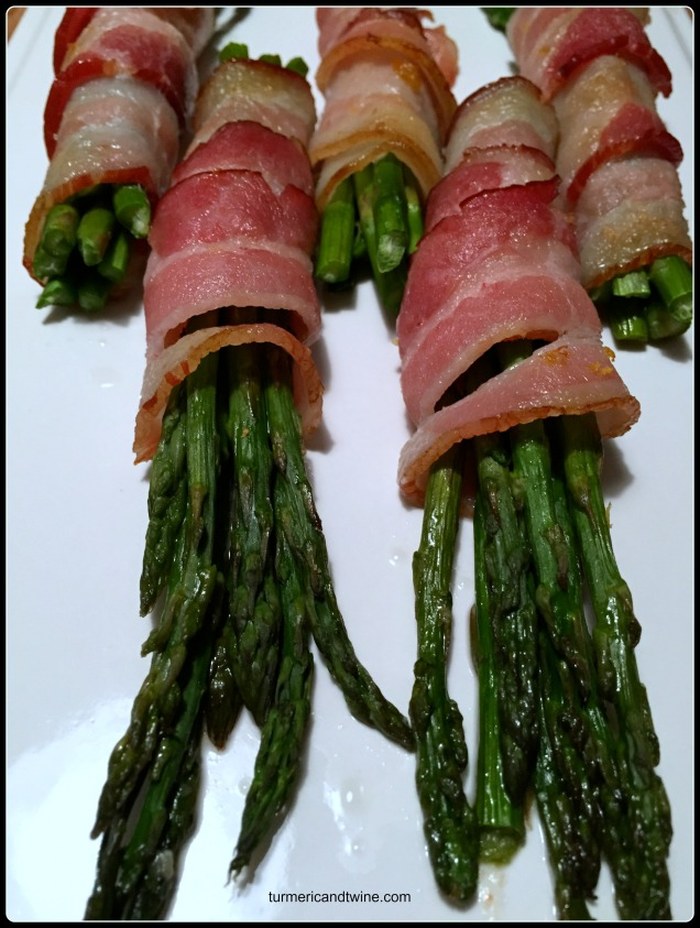 Lemon zested bacon wrapped asparagus